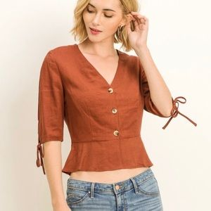 LOWEST Lana Linen Button Top in Brick